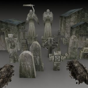 cemetery crypts tombstones graves 3d model