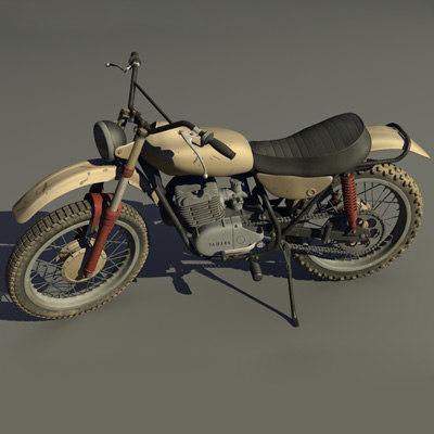 1968 yamaha dt1 dirt bike 3d model