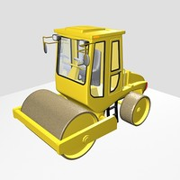 3d road roller industrial model