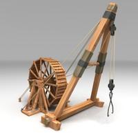 wood roman crane 3d model