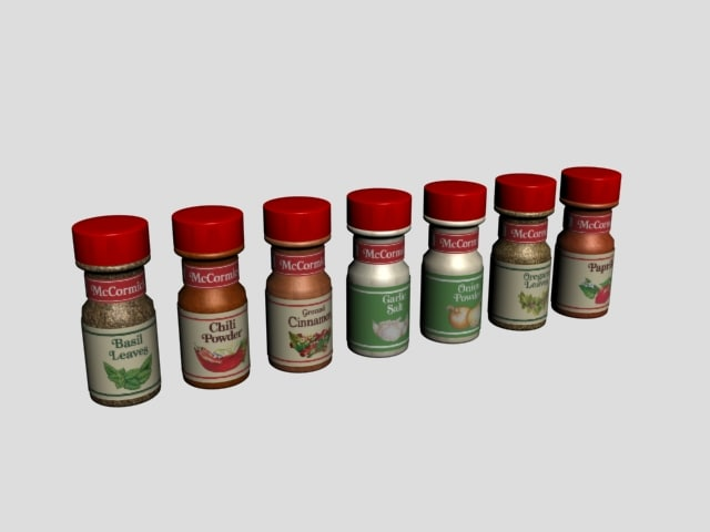 spices 2oz bottles 3d model