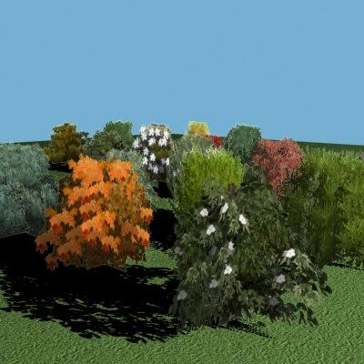 18 bushes 3d max