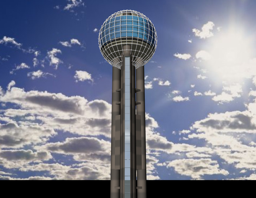 3ds max reunion tower dallas texas