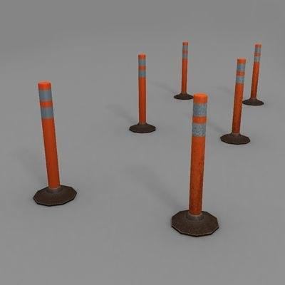 traffic delineator post 3d model