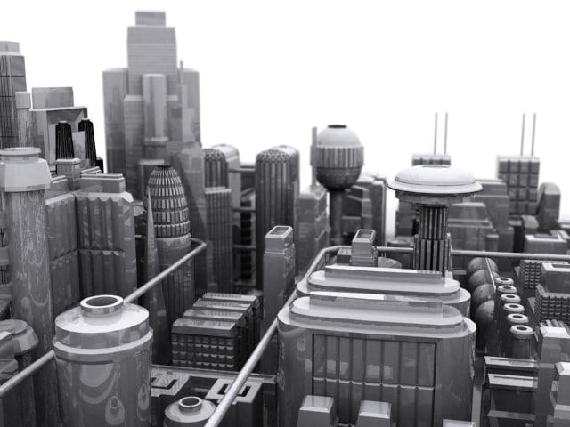 city future skyscrapers 3d model