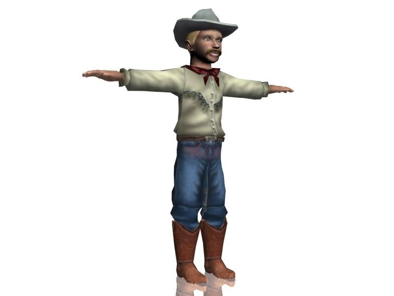 3d cowboy character boy man model