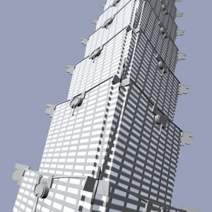 taipei 101 tower building 3d model
