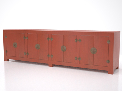 red lacquer sideboard 3d model