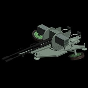 zu-23 gun 3d model