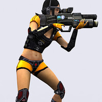 sci-fi elite trooper girl 3d model