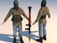 terrorist character 3d model
