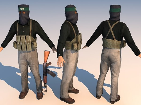 iraq terrorist character 3d model