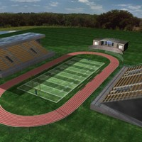 school football stadium track 3d model
