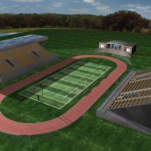 school football stadium track 3d model