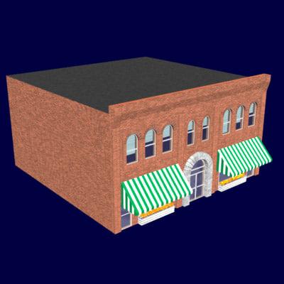 apartment brick bldg 3d lwo