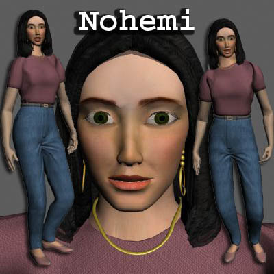 nohemi dark haired woman 3d max