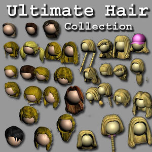 collections hair 34 different 3d model