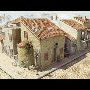scene street spain houses 3d model