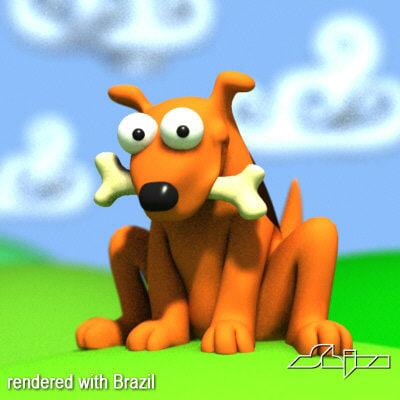 dog bone cartoon 3d model