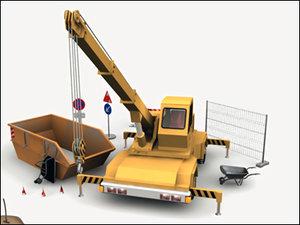 3d build construction site crane model