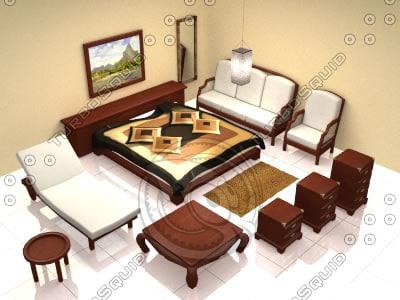 3d model bedroom furniture 1 bali