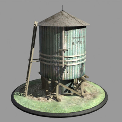 3ds max aged water tower