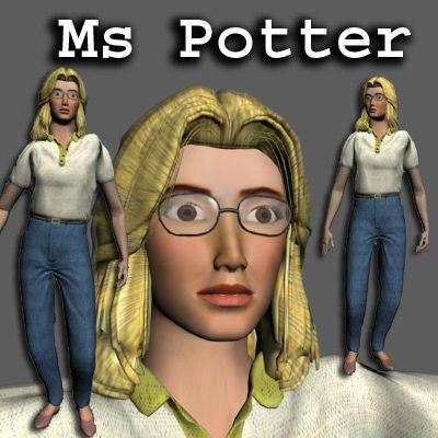 3d model ms potter blonde hair