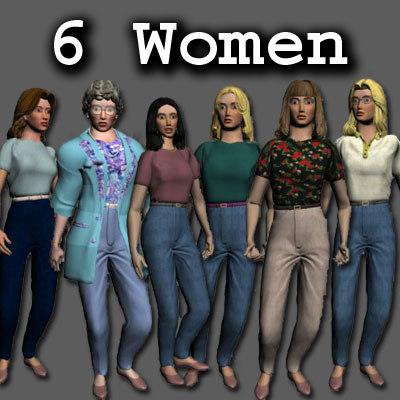 6 women woman 3d model