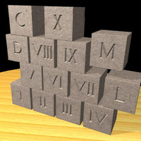 roman numerals blocks 3d model
