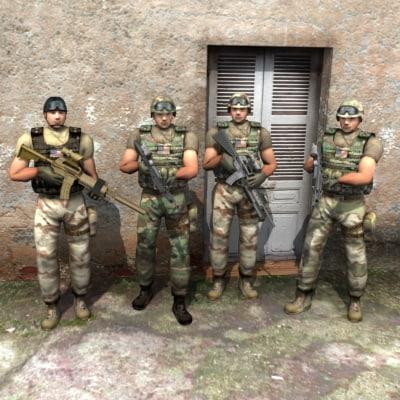 ranger delta soldiers 3d model
