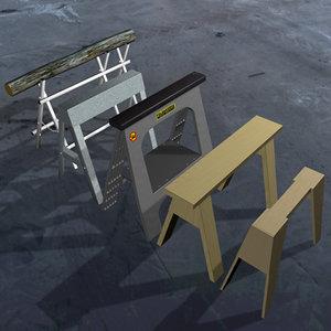 sawhorses kit 5 3d model