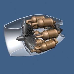 whittle jet engine 3d model