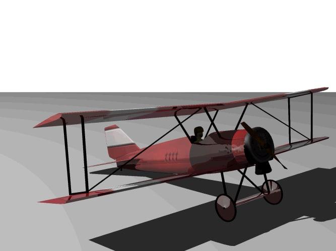 realistic bi-plane 3d model