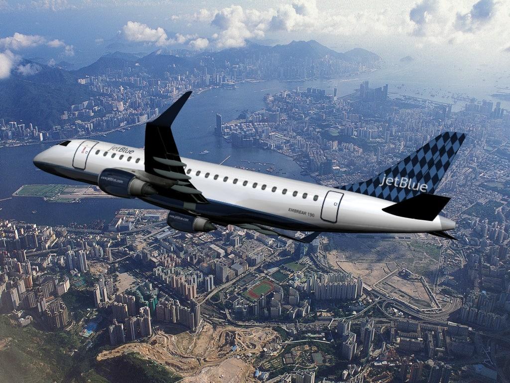 plane embraer 190 jetblue 3d model