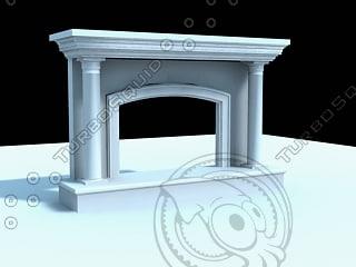 3dsmax limestone fireplace