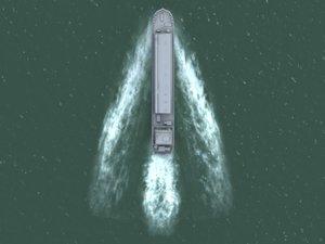 ships bow wake 3d model