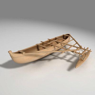 3d model dugout canoe