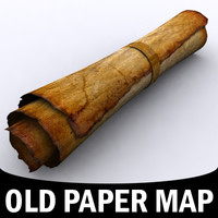 treasure scroll parchment maps 3d model