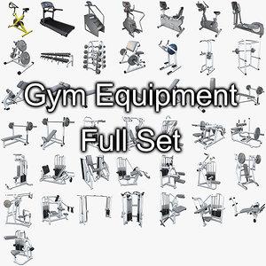 gym equipment set weight 3d model