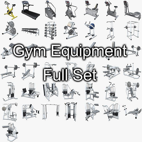 gym equipment set weight 3d model
