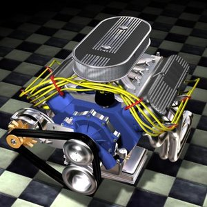 american v8 motor engine 3d model