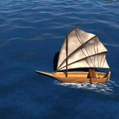 3d model sailboat ocean