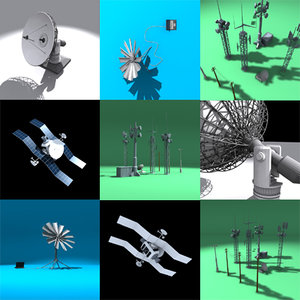 communications antennae dishes 3ds
