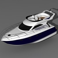 fairline 38 motor boat 3d model