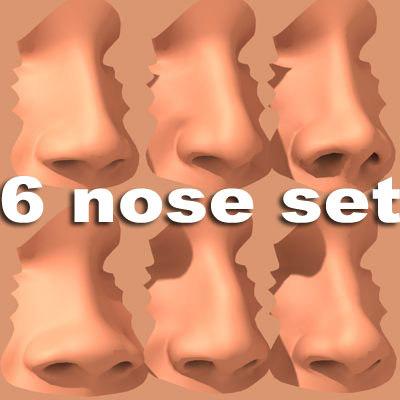 set 6 noses 3d 3ds