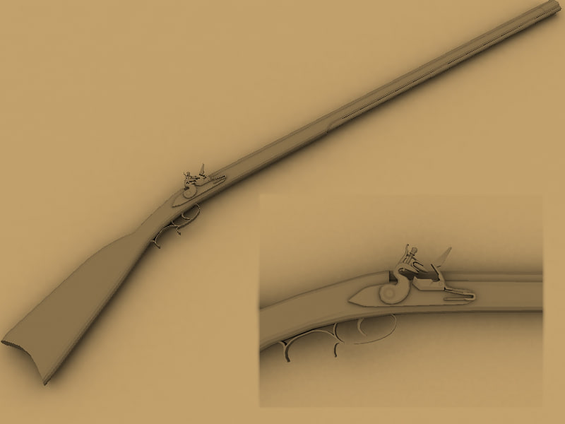 3d kentucky rifle model