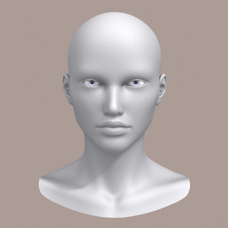 3d polygonal female head