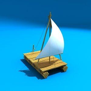 3d model bamboo raft