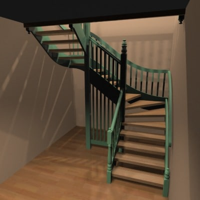 3ds max radiosity stairs