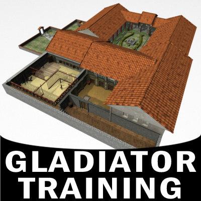 3d massive gladiator training camp model